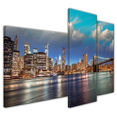 Wandbild - New York VI - Bild auf Leinwand - 130x80 cm dreiteilig - Leinwandbilder - Städte & Kulturen - Hängebrücke - Brooklyn Bridge am Abend -