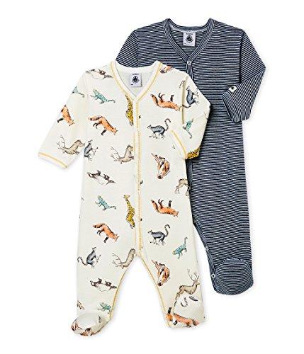 Petit Bateau Baby-Jungen Schlafstrampler DORS BIEN_4572700, 2er Pack, Mehrfarbig (Variante 1 00), 62 (Herstellergröße: 3M/60cm)