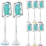 Ersatzbürsten für Philips Sonicare Diamond Clean Zahnbürste Flexcare Platinum auch ProResults EasyClean HealthyWhite Elektrische Bürstenköpfe mit Abdeckkappe 8er Pack