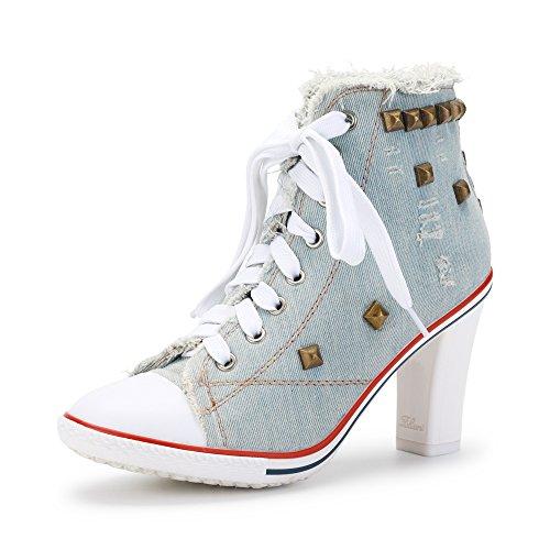 Damen Nieten Canvas Schnürsenkel Sneakers Chunky Heel Schick Blockabsatz Ankle Boots Hellblau Asiatisch 40/ EU 39 (Canvas-boot)