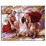 Ballet Filles Peinture DIY par Numéros Wall Art pour Salon Peinture À l'huile De Toile pour La Décoration Intérieure 60x75cm