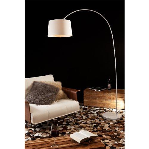 SalesFever Steh-Lampe dimmbar weiß mit Standfuß aus Marmor 205x150 cm | Ekon | Steh-Leuchte groß mit Lampenschirm aus Textil | Bogen-Lampe für Wohnzimmer 205cm x 150cm