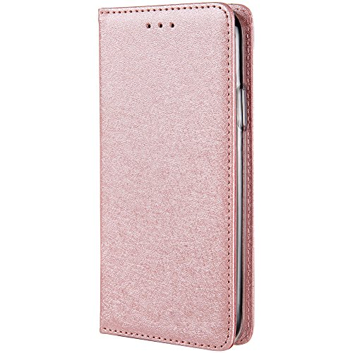 HARRMS iPhone 6 Plus,iPhone 6s Plus Handyhülle Handytasche mit Geldbörse mit Kredit Karten Fach Geldklammer Leder Hülle Handyfach Magnet Schutzhülle, Rosa Gold - Plus Rosa Leder 6 Geldbörse Iphone