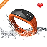 RIVERSONG ® Wave HR Fitness Tracker, Activity Tracker with Heartrate Monitor, Sleep Monitor, Pedometer, Calories Track and OLED Display Waterproof Smartband Christmas Present (Orange)