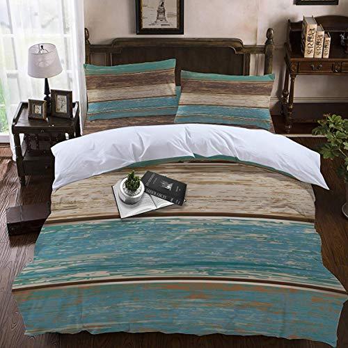 Soefipok 4pcs Bettbezug Set Vintage Green Wood Grain Leichte Pflegeleichte Bettwäsche-Set für Männer, Frauen, Jungen und Mädchen