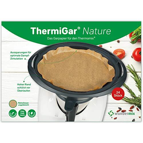 ThermiGar Nature naturbraun ungebleicht 24 Stück Backpapier für Thermomix - Varoma-Garpapier für TM6, TM5, TM31 - Dampfgar-Papier extra hoher Rand