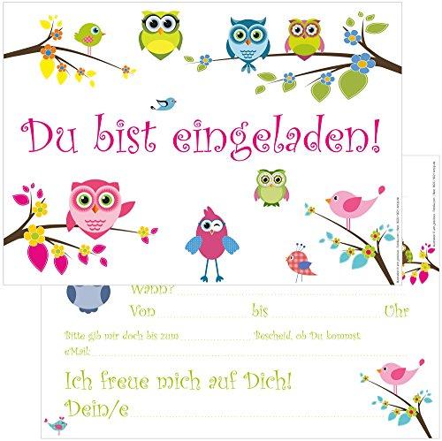 ... 12 Einladungskarten Eulen Zum Geburtstag/Einladungen  Geburtstagseinladungen Kindergeburtstag Kinder Erwachsene Jungen Mädchen  Vorlage Karten Set ...