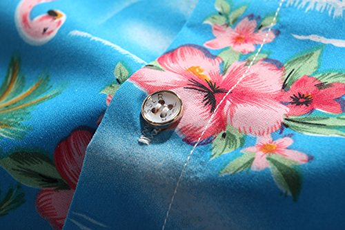 SSLR Herren Flamingos Blumen Freizeit Aloha Hawaii Hemd Blau