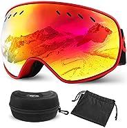Glymnis Gafas de Esquí Máscara Gafas Esqui Snowboard OTG Super Gran Angular UV400 Protección para Hombre Mujer