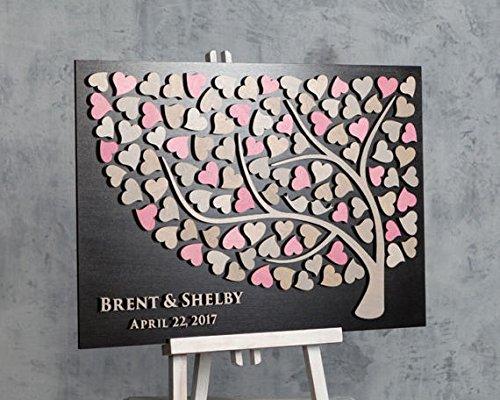 Baum-Hochzeitsgästebuch, in 3D aus Holz, 40 cm x 60 cm, personalisierbar, Geschenkidee für das Brautpaar