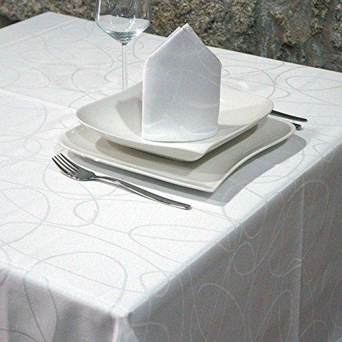 Nappe de luxe Blanc – Traitement Anti taches – Grandes Tailles – Réf. Lignes, blanc, 59 x 98\\