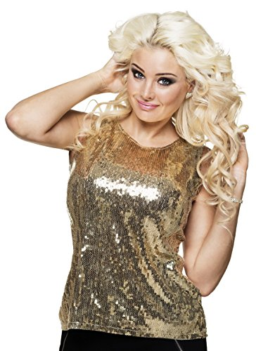 Halloweenia - Damen Pailletten Glitzer Top , Gold, Größe One Size