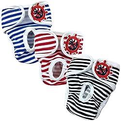 E-Kauf 3er Pack waschbar Schutzhose Hygieneunterhose aus Baumwolle für Hündin (M)