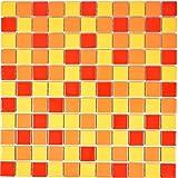 Piastrelle in ceramica per mosaico, colori: giallo, arancione, rosso, lucide, per le pareti di bagno, doccia, cucina specchio specchio, vasca da bagno, rivestimento a mosaico, opaco