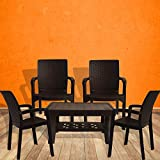 #2: Italica Furniture - Armchair and Table Combo - Indoor and Outdoor Furniture Set  (9402 & 9503, Brown, Set of 4 Chairs)