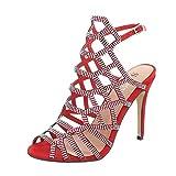 Ital-Design High Heel Sandaletten Damen-Schuhe High Heel Sandaletten Pfennig-/Stilettoabsatz High Heels Schnalle Sandalen & Sandaletten Rot, Gr 35, Zj-10-