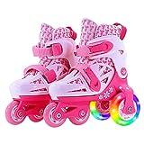 WANG-L Rollerblades Double-rangée Quad Patins À roulettes Réglable pour 2-11 Ans Bébé Filles Garçon Intérieur Et Extérieur Sports Patins À Glace Cadeau d'anniversaire,Pink-XS(25-29)-Set1
