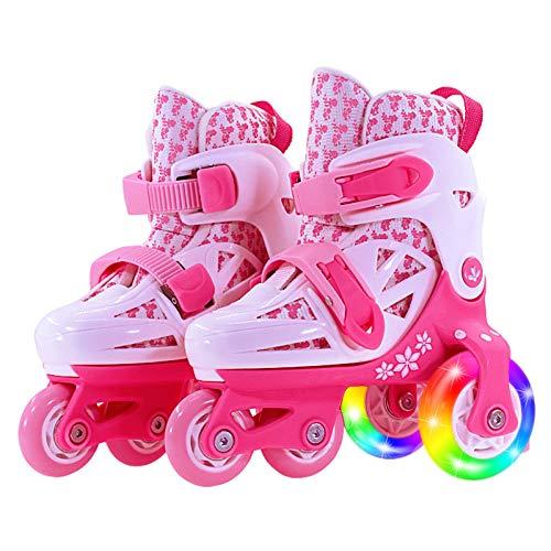 WANG-L Rollerblades Zweireihige Quad-Rollschuhe Einstellbar Für 2-11 Jahre Alt Baby Mädchen Jungen Indoor Und Outdoor Sports Schlittschuhe Geburtstagsgeschenk,Pink-XS(25-29)-Set1