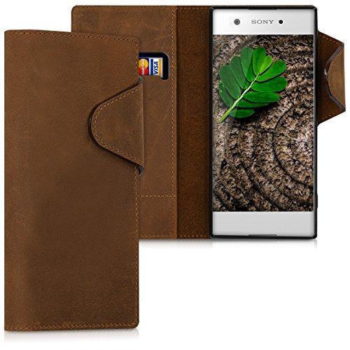 kalibri Sony Xperia XA1 Hülle - Leder Handyhülle für Sony Xperia XA1 - Handy Wallet Case Cover