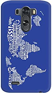 Kasemantra World Map In Blue Case For LG G3 D855