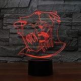 Mozhate 3D LED Gradients Night Light 7 Colori cambiando Drum Rack Strumenti Musicali Kids Touch Button Table Decor,Interruttore tattile