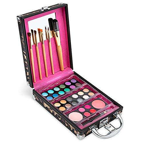 Vokai Make-up-Set, Geschenkset, Leopardenmuster, 24 Lidschatten, 4 Lipgloss, 2 Rouge, 5 Pinsel, 1 Eyeliner Bleistift, Etui mit Tragegriff