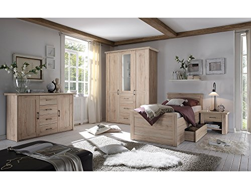 moebel-eins LÜTTICH Komfortbett/Einzelbett 100×200 cm, Material MDF, Eiche sanremofarbig