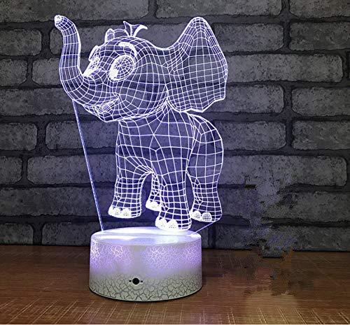 Dumbo Forma de Elefante 3D Lámpara de Mesa Control Remoto 7 Cambio de Color de Acrílico Bebé Luz de la Noche Usb Decorativo Niños Regalos de Navidad