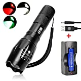 Linterna Tactica Militar, 3 Color LED Rojo + Verde + Blanco Luz 3 in 1 RGB Zoomable Portatil Flashlight con 2300mAh Recargables Batería Bueno para el Hogar, Caza, Pesca, Mirada Estrella, Acampan