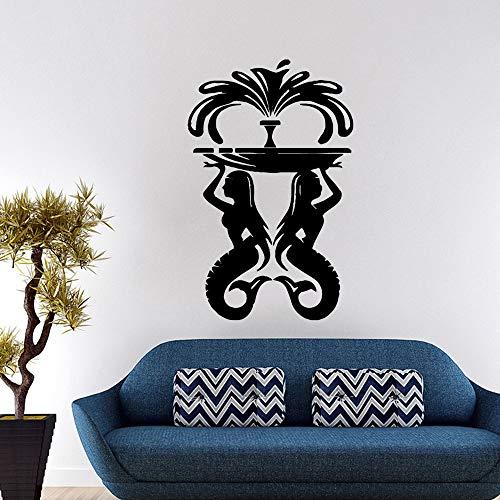 Qsdfcc Hübsche meerjungfrau brunnen Umweltschutz Vinyl Aufkleber für kinderzimmer DIY Dekoration Hintergrund wandkunst aufkleber43 * 67 cm