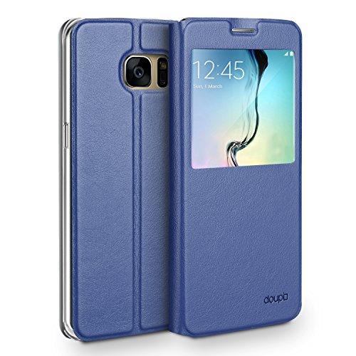 doupi Deluxe Finestra FlipCase per Samsung Galaxy S7 Edge, Protezione Custodia Ultra Slim Magnete Flip Cover Protettiva Book Style Etui Stare in Piedi, Blu Scuro