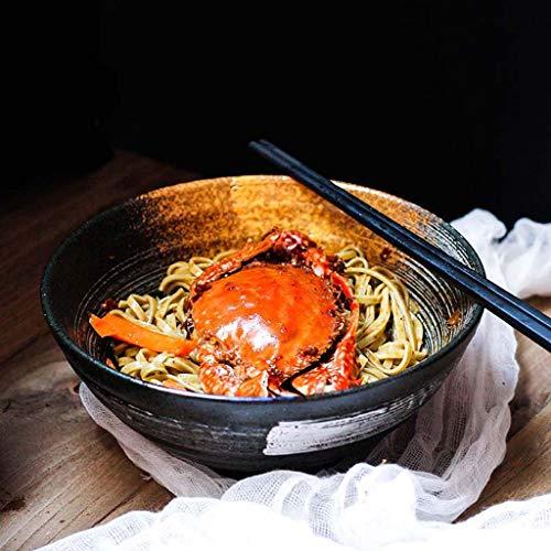 SMC Cuenco Cuenco Creativo de Ramen Cuenco de Ensalada japonés Retro del Estilo del hogar Cuenco de Sopa Grande del Cuenco de cerámica (Color : Black)
