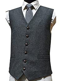 Classic Wool Handle Traditional Herringbone Style Tweed Waistcoat - Grey
