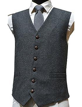 Classic mango de punto de espiga de lana tradicional chaleco con diseño de estampado de Tweed - gris