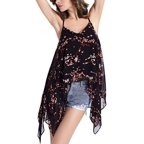 Zhhlaixing Chic Fashion Chiffon Sleeveless Halter Irregular Style Vest Shirt Backless Tank Tops pour Femme Summer Black