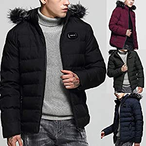 Amphia – Herren Winter Plus samtgefütterter Reißverschluss-BaumwollmantelHerren Wintermode Hoodie Reißverschlusstasche verdickte Baumwolle gepolsterte Jacke Mantel