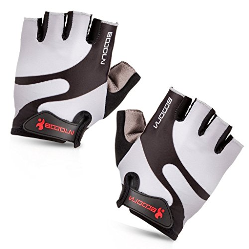iCreat Damen / Herren Kurze Rennrad Handschuhe Power Fahrrad Active Gloves mit Geleinlage Grau, Größe M
