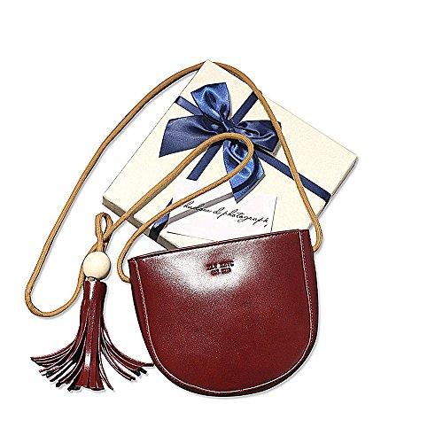 SeOST Retro Tasche PU Leder Quaste halbkreisförmiges Telefontasche Mode Damen Schulter diagonal Querpaket Portemonnaie rot