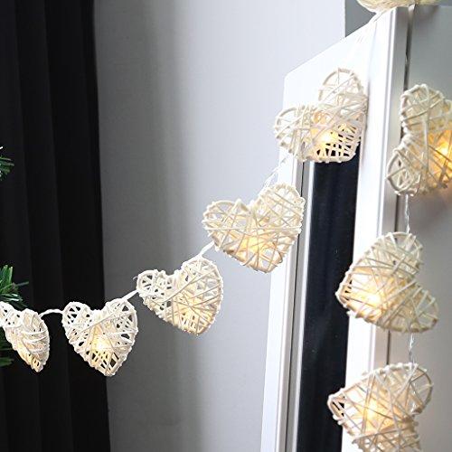 Finether 11.6 ft 3.55 m 20 LED Alimentation par Batterie Forme de Coeur Guirlande Lumineuse pour Intérieur Blanc