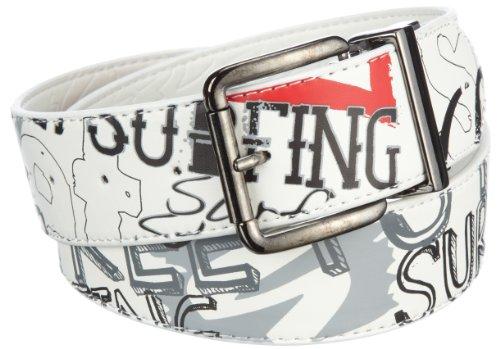 Streetsurfing Herren Gürtel Ventura Reversible, White/Red, 59-71cm, C1530 (Print Reversible Belt)