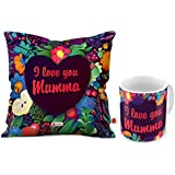 Indigifts Special Gift For Mom Mothers Day Birthday Anniversary Floral I Love You Mumma Violet Printed Small Cushion 12X12 With Filler And Best Quality Ceramic Mug Set Of 2 Everyday Home Decor Gifting