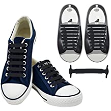 No Tie Laces,Fascigirl Elastic Easy No-tie Silicone Shoelace Waterproof Lazy Flat Quick Tieless Shoe Laces Sports Shoelaces for Kids and Adults Trainers Running and Casual Shoes