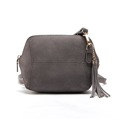 TIFIY Damen Mode Fashion Solide Geometrische Form Quasten Hang Dekoration Faux Suede Mini-Tasche Crossbody Schultertasche Handtasche Viele Farben (Grau) (Suede-leder-hobo)