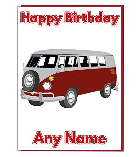 VW Camper Van Personalisierte Geburtstagskarte–Jeder Name und Alter Druck auf der Vorderseite
