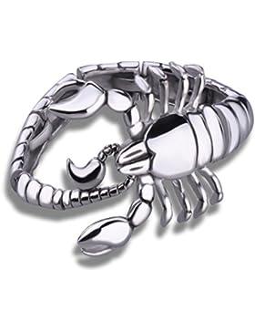 Feilok Fashion Schwere groß Armband Skorpion Armreif für Herren, aus Edelstahl, Farbe Silber Schwarz