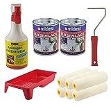 Set 2x Fliesenlack 0,75 Liter (weiß) mit 1x Anlauger und Entfetter Spray 0,5 Liter + Farbroller + Farbwanne + 6x Walze