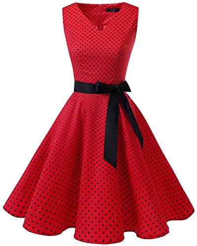 age 1950er Rockabilly Ärmellos Retro Cocktailkleid Partykleid Red Small Black Dot 3XL (1960 Kleid)