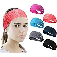 6 Stück Sport Stirnband Schweißband ideal für Yoga/Radfahren / Laufen/Fitness, große elastische Übung Haarband oder Schweißband für Unisex