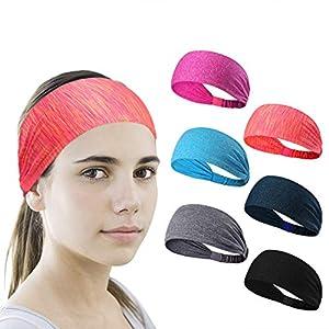 6 Stück Sport Stirnband Schweißband ideal für Yoga/Radfahren/Laufen/Fitness, große elastische Übung Haarband oder Schweißband für Unisex