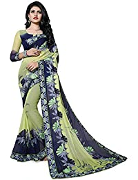 Fab Valley Women's Chiffon Saree With Blouse Piece (Fab-1059-S-D5_Green & Blue)